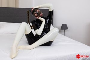 Czech girl Stacy Cruz latex and white stockings