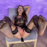 VR foot worship of Talia Mint with dildo in pussy